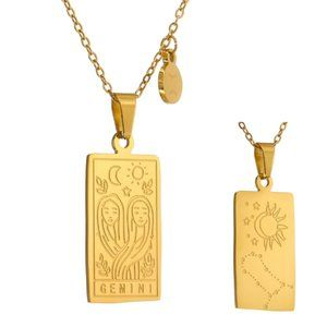 NEW 18K Gold Plated Gemini Sign Zodiac Tarot Card Square Pendant Ne…